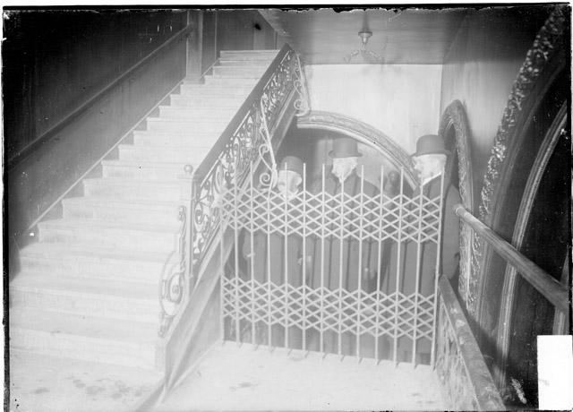 Accordian gates across the stairways to prevent patrons from sneaking down to more expensive seats proved to be fatal during the fire. Most of the loss of the life occured at these locked gates and exits.