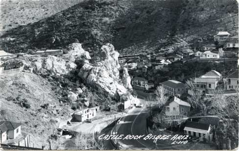 Early-mid 1900s photo of Bisbee. The Inn is located in the center right (across from Castle Rock)