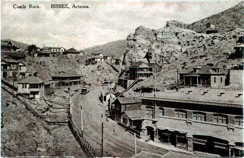 Another early 1900s photo of Bisbee. The Inn is located in the center left (across from Castle Rock) with a trolly in front of it.