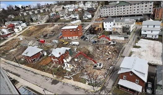 Demolition of houses between 2nd and 3rd Street to make room for WVU housing buildings