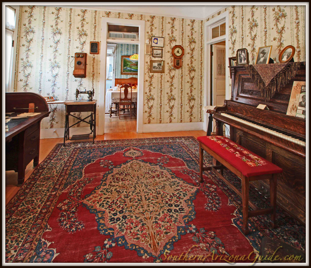 Muheim Heritage House Museum parlor and piano