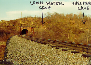 Picture of Where Lewis Wetzel's Cave is Located. The Rail Road Tracts are Now Bike Trails