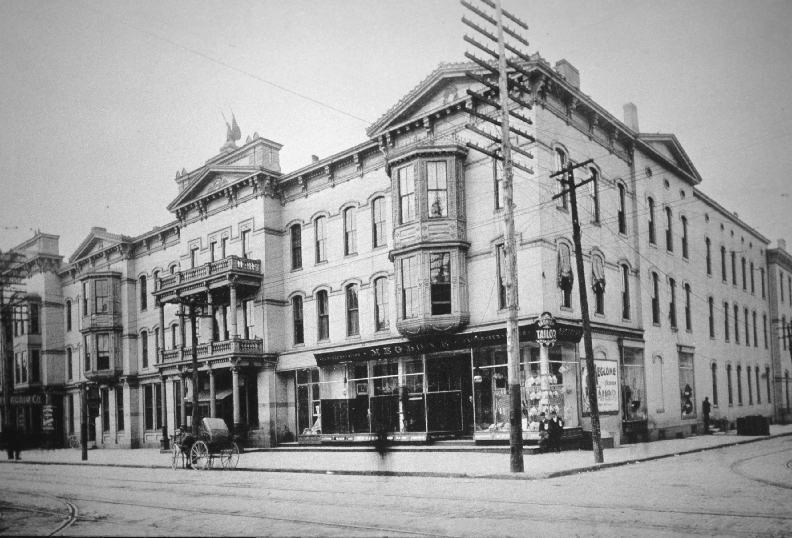 Not many photos of the original tavern have survived. This photograph captures the newly built Phoenix Hotel after it was built following Postlethwait Tavern's fire.