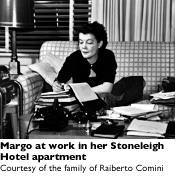 Margo Jones working in her apartment