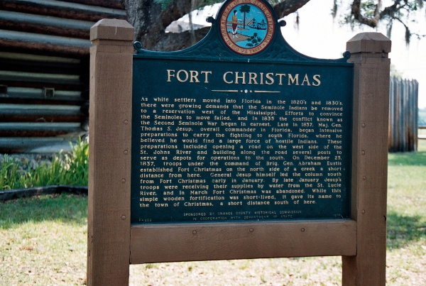 The fort includes numerous exhibits as well as this historic marker.