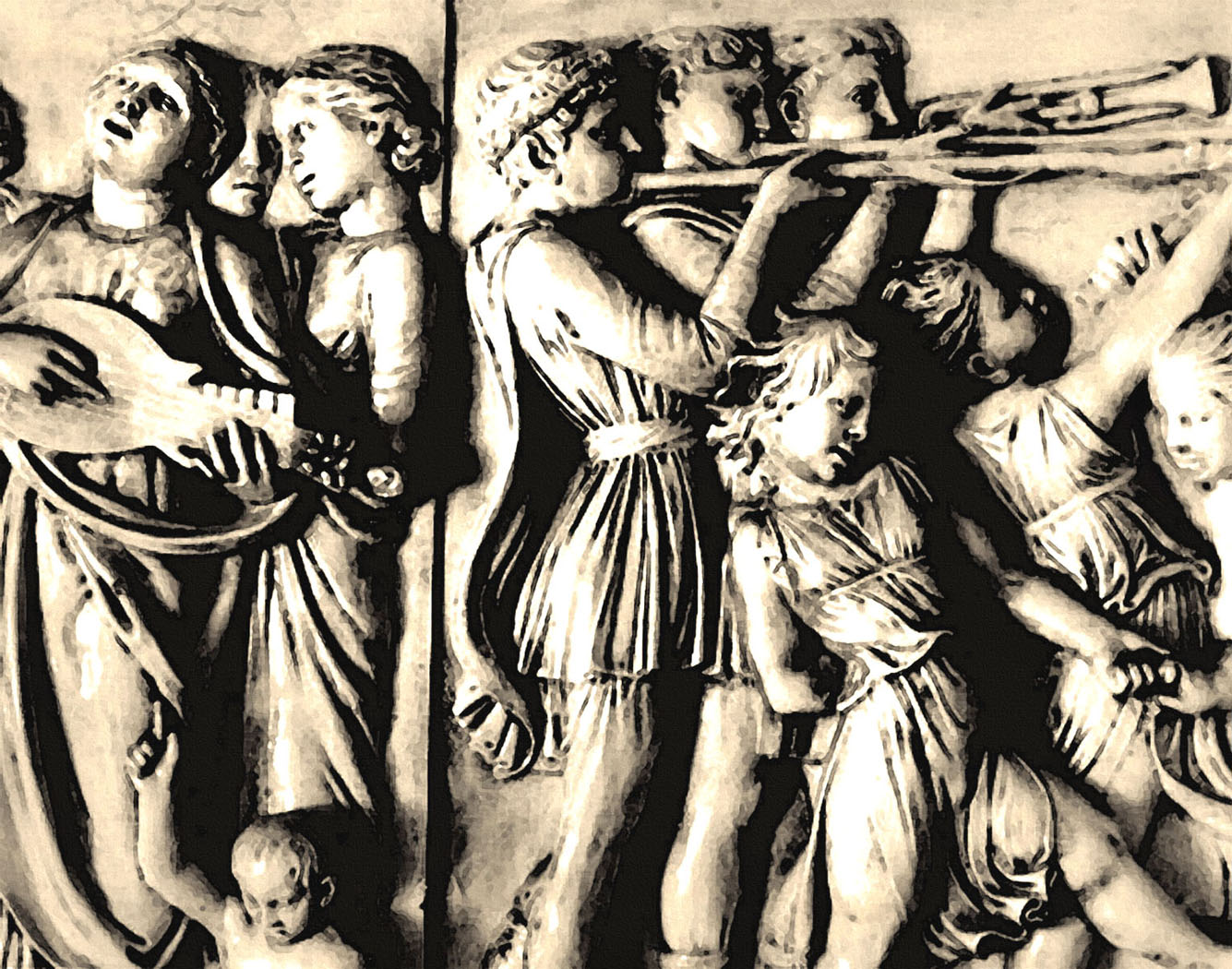 """Part of a bas relief """"Triumphal Entry of Alexander the Great"""" that decorates the interior by the entrance."""