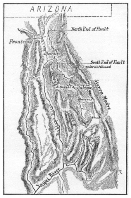 1887 sketch by Dr. George Goodfellow of the 1887 Sonora earthquake fault zone based on several weeks of field study. The U.S./Arizona border is shown at top.