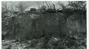 1887 photo show the displacement of ground along fault lines. Displacement was as high as 16 feet. Courtesy of the Arizona Geological Survey
