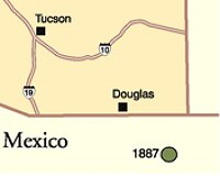 Map of the Mexico/Arizona border. Dot is the epicenter of the earthquake.
