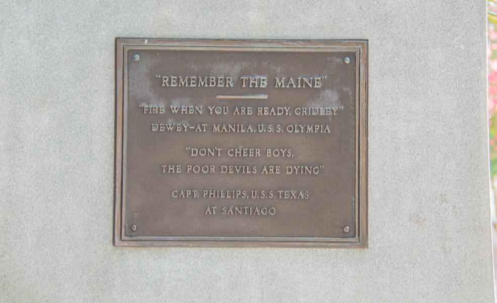 North plaque, Spanish-American War Veterans Monument