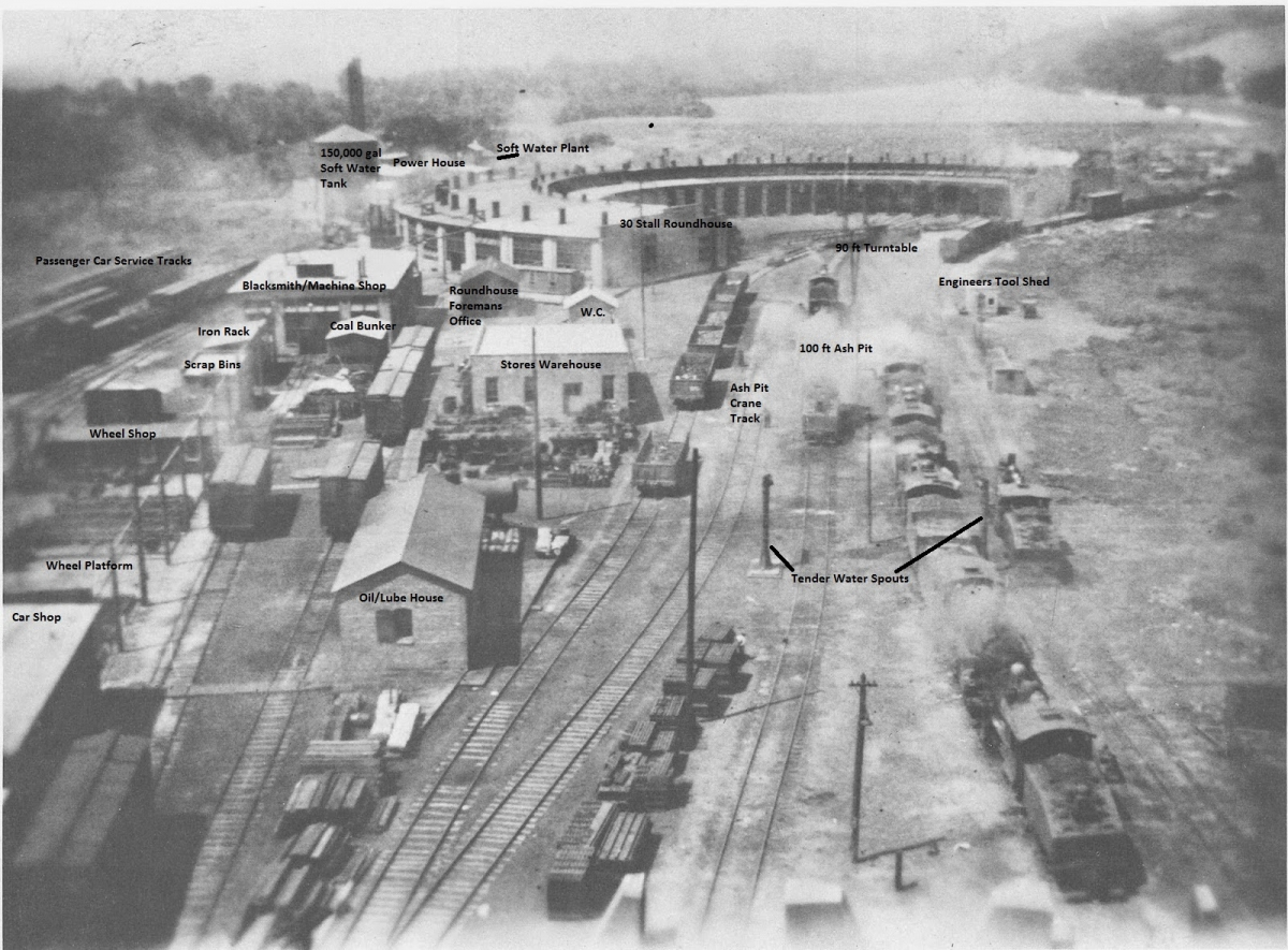 An old photo of the complex, with the roundhouse at the top