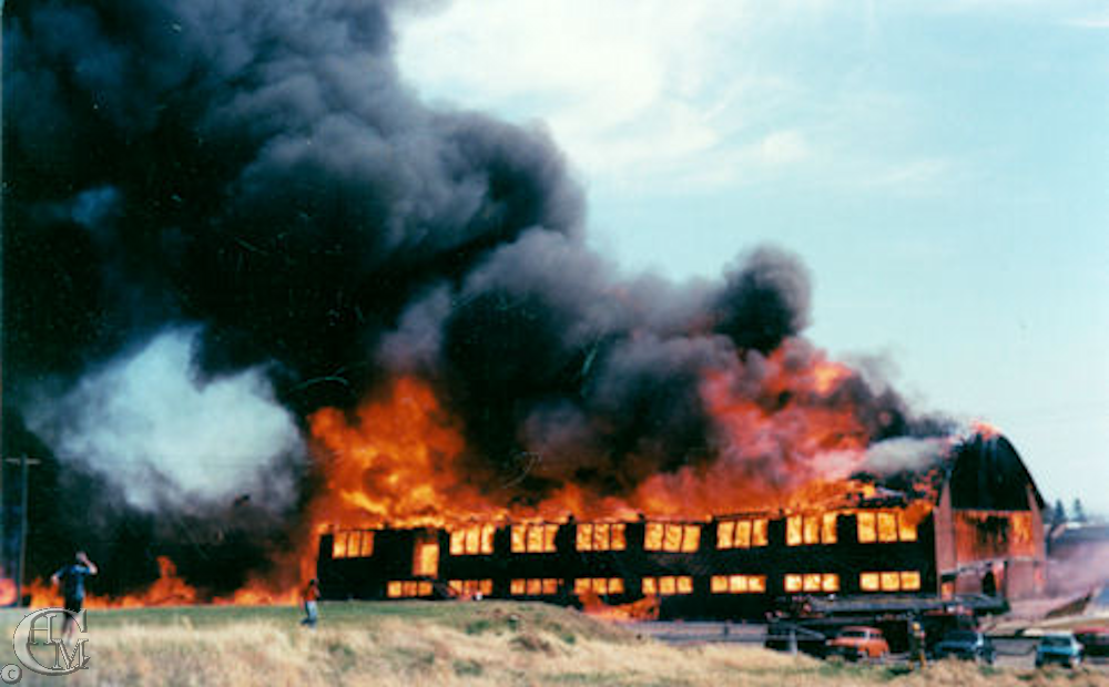 April 25, 1977 fire destroyed the former fieldhouse.