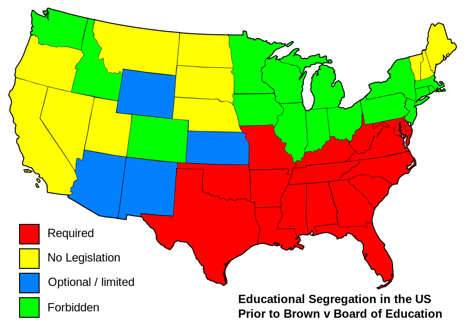 Map of stances on school segregation prior to Brown v. Board in 1954. Courtesy Wikimedia Commons.