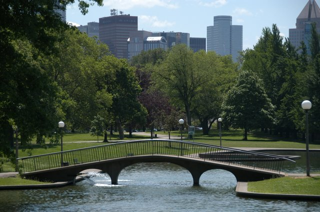 The park's Lake Elizabeth with Pittsburgh's skyline in the background.