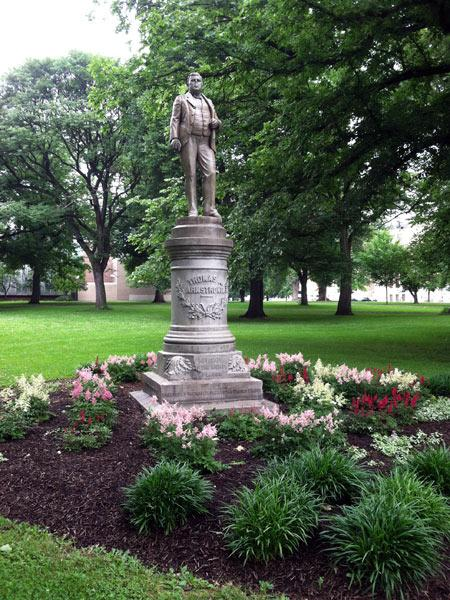 Created in 1889, this statue honors labor leader Thomas Armstrong. The monument resided in West Park until 1969 when it was hit be an automobile. The statue was repaired and moved to this location in 1975