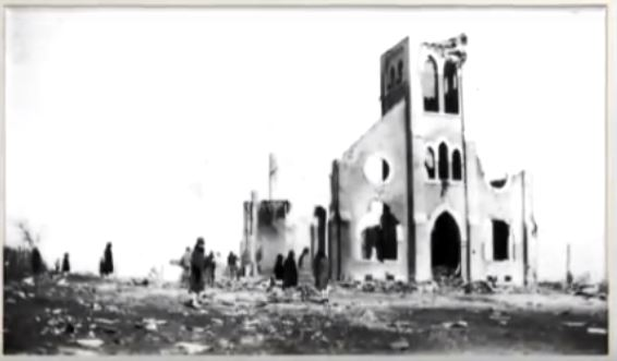 The previous church building burned in a fire on March 16, 1928.