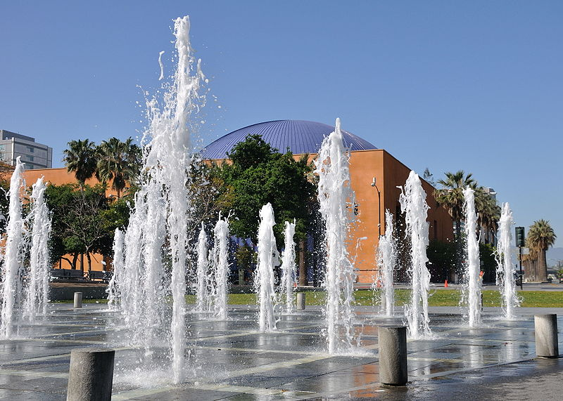 The Plaza de César E. Chávez fountains (image from Wikimedia Commons)