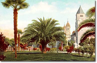 The Plaza in 1900, with St. James Cathedral and historic post office (now the San Jose Museum of Art) in background (image from the city of San Jose)