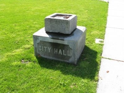 Cornerstone of City Hall in today's Plaza (image from Historical Marker Database)