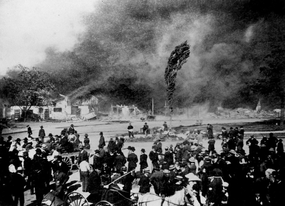 The Market Street Chinatown fire (image from History San Jose)