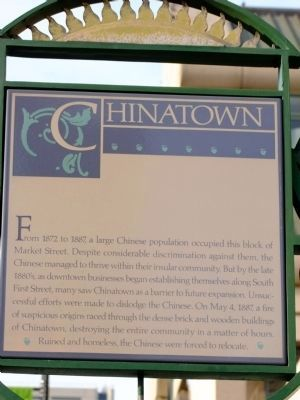 This Chinatown historic marker is located outside the Fairmont Hotel at the intersection of Market Street and Paseo de Santo Antonio.