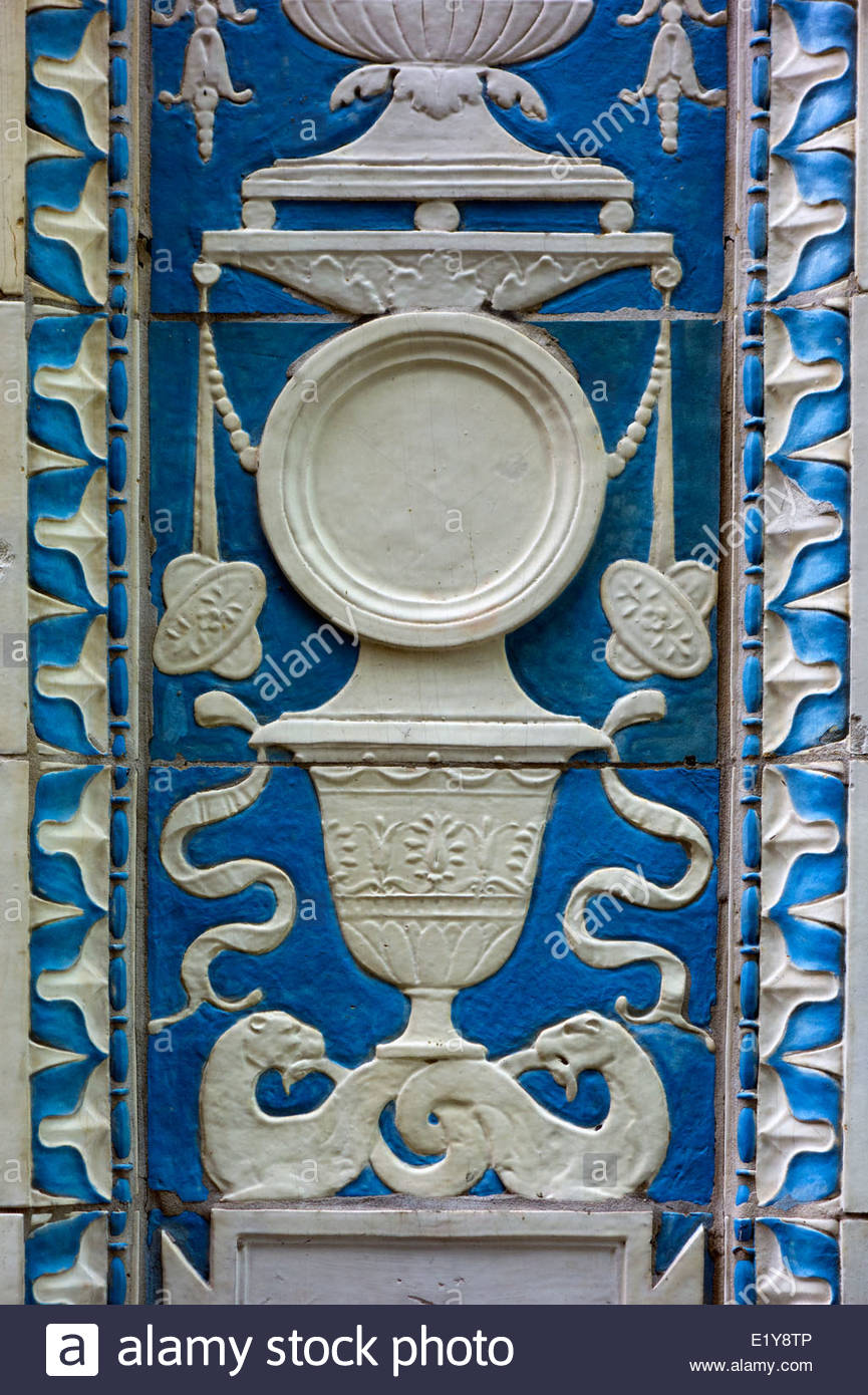 A close-up the Buhl's terra cotta tiles.