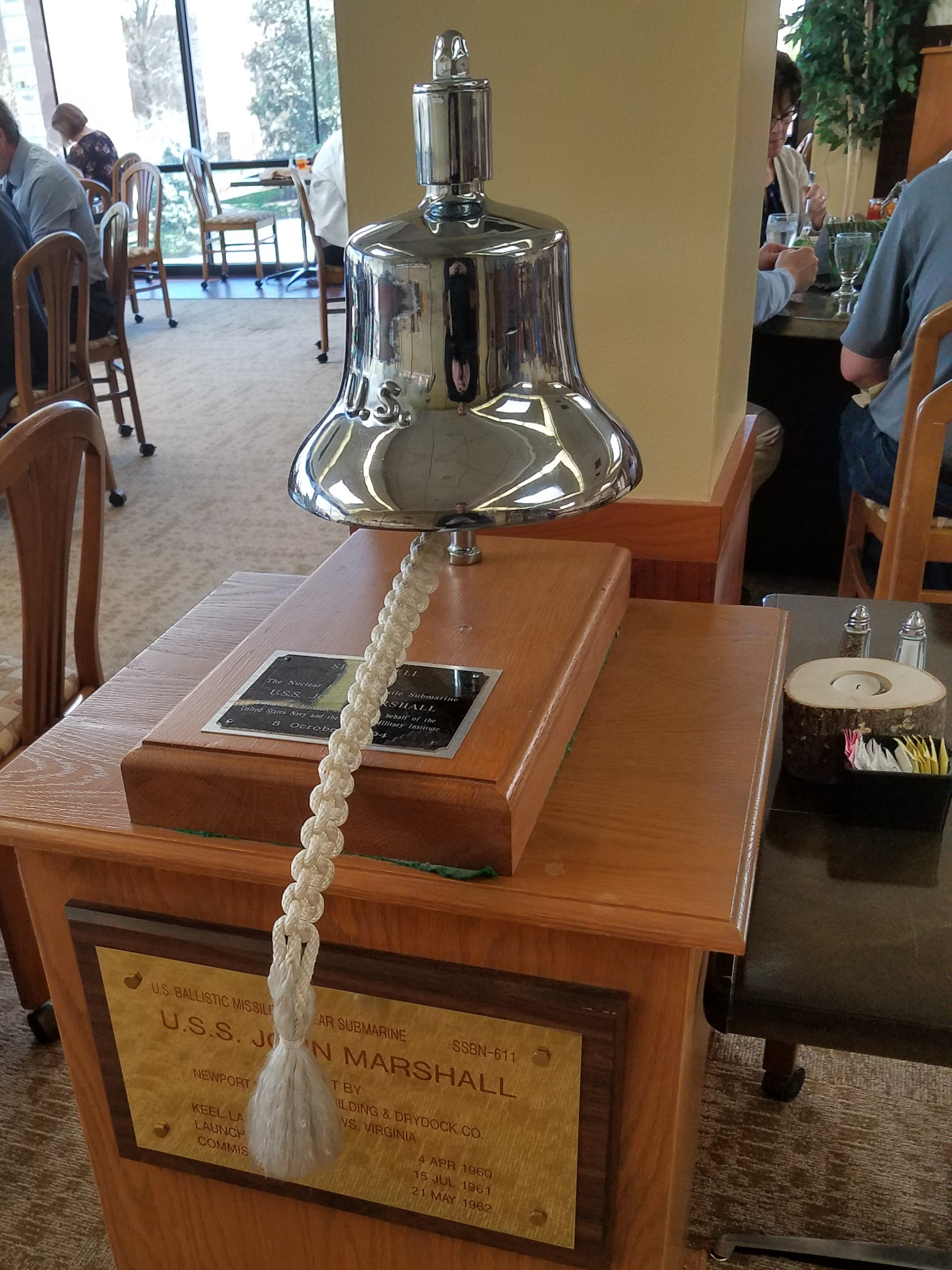 Since 1994, the building's John Marshall dining room has been home to this bell from the Nuclear Ballistic Missile Submarine U.S.S. John Marshall.