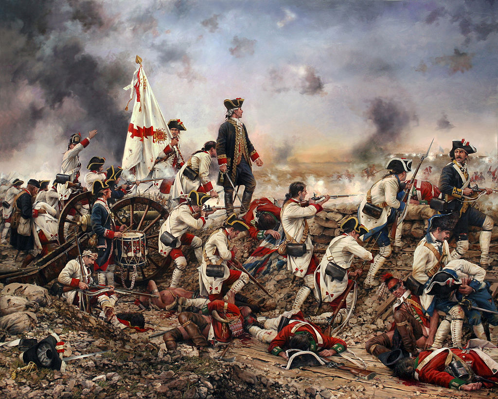 Painting depicting Galvez (standing center) during the Siege of Pensacola by Augusto Ferrer-Dalmau