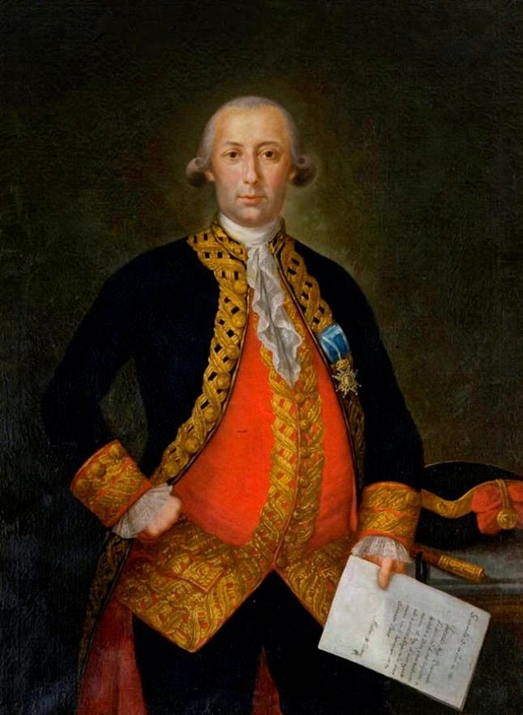 The Spanish General Bernardo de Gálvez. Portrait made while he was the Territorial Governor and after the Siege of pensacola