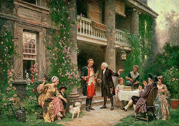 An artist's rendition of George Washington's visit to Bartram's Garden in 1787.
