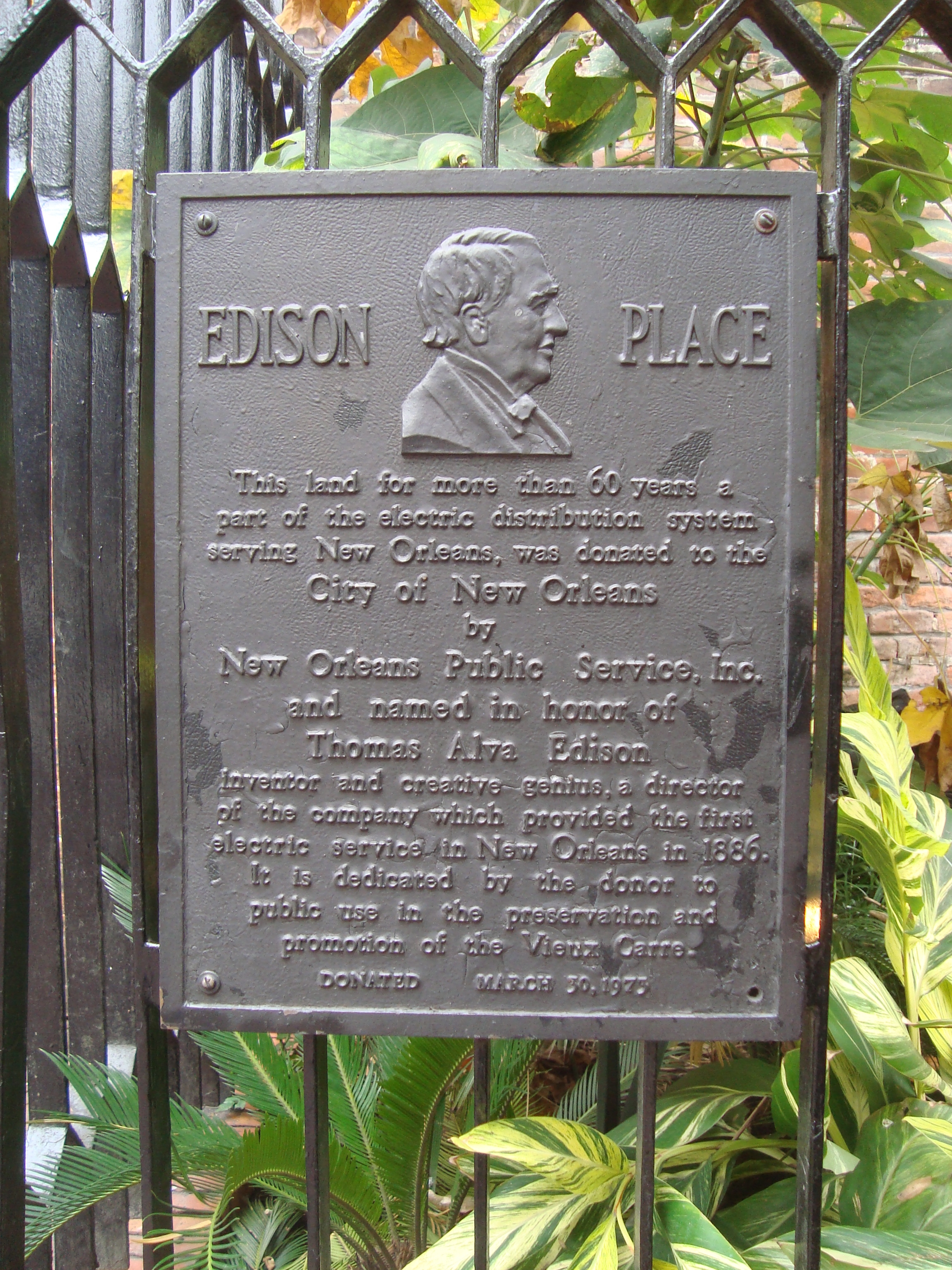 The Edison Place marker