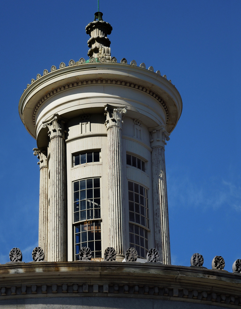 a close-up of the Exchange Building's lantern tower