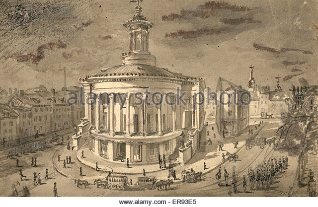 A drawing of the Exchange Building during the days of the horse and carriage.