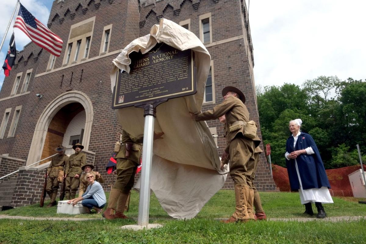 The unveiling ceremony for the new marker. Photo from the Athens News.