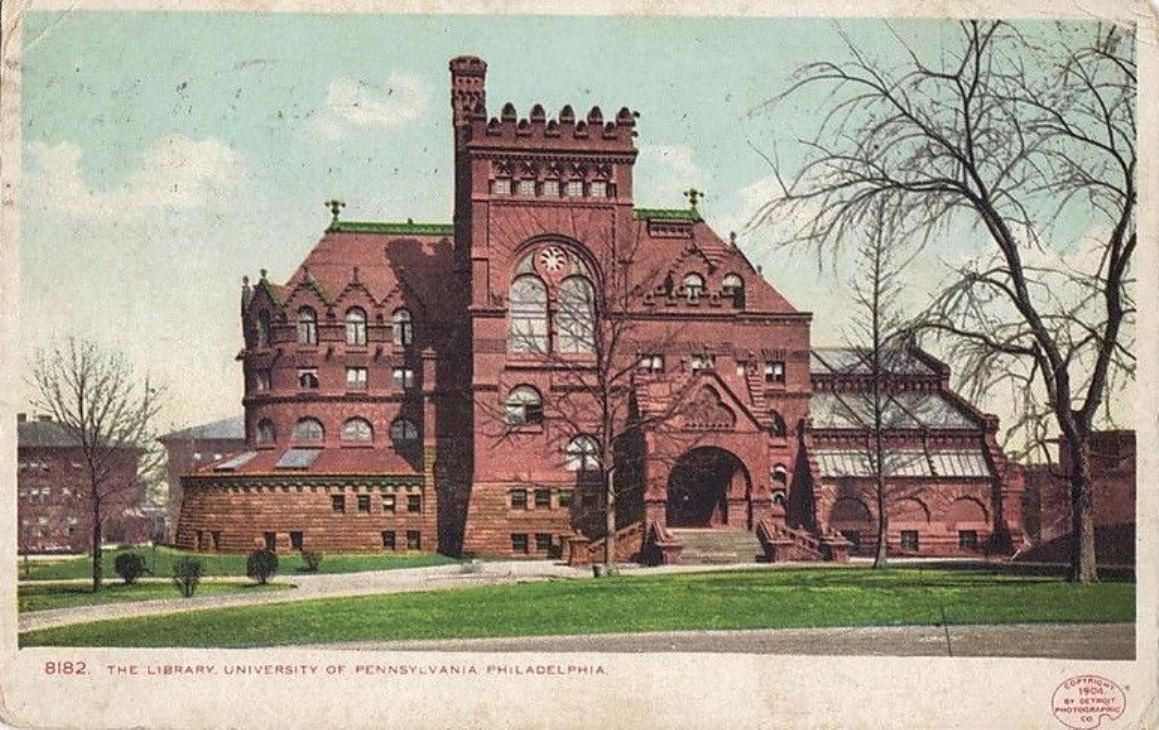 A 1904 post card with an image of the Furness Library.