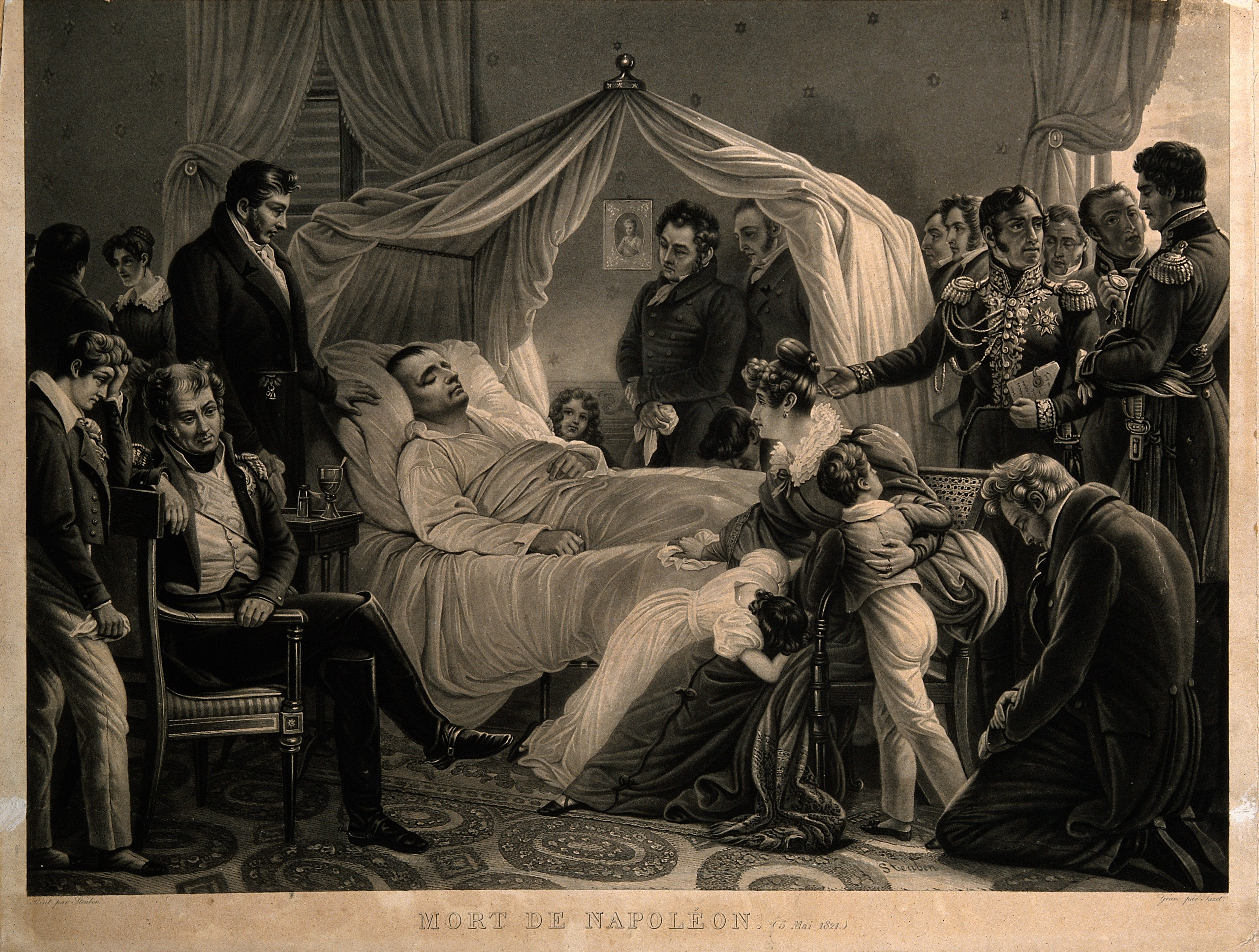 Napoleon on his death bed while in exile on St. Helena.  HIs death ended any plans Nicholas Girod had for rescuing him and bringing him to New Orleans.