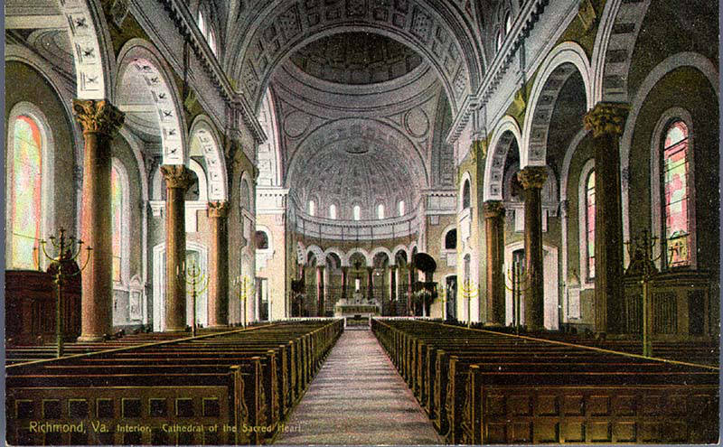 Cathedral of the Sacred Heart, Interior, Richmond, VA. Image via Flickr 2.0, CC. Source: VCU Libraries Commons - http://dig.library.vcu.edu/u?/postcard,110