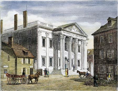 A drawing of the bank during the days of the horse and carriage.