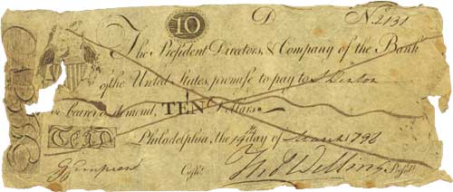 A bank note from the First Bank of the U.S.