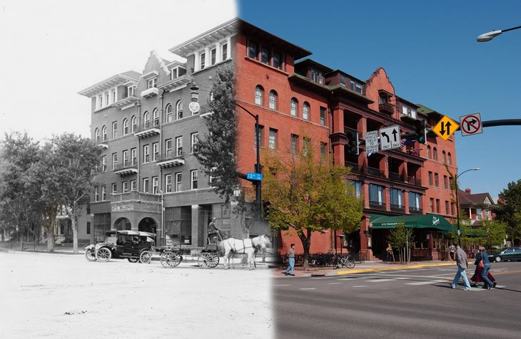 Composite photo of the hotel. Left side is from a few years after its opening and o the right side, as it appears today.