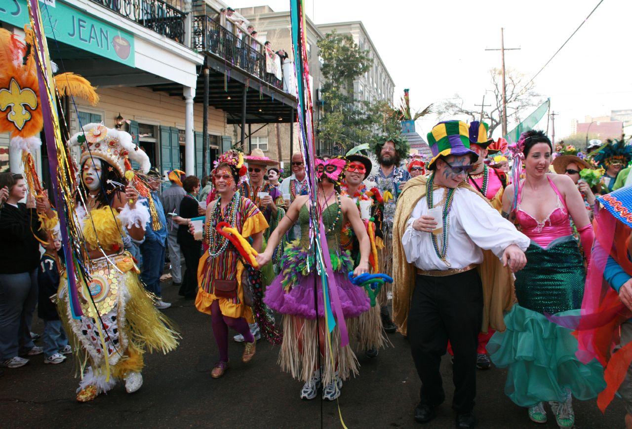 Revelers in Mardi Gras 2007