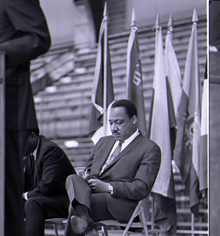 Martin Luther King Jr. prepares to address the crowd at Ahearn Field House on January 19, 1968
