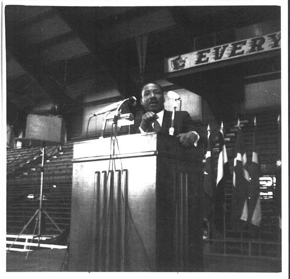 Martin Luther King delivers University Convocation address, image from Kansas Memory