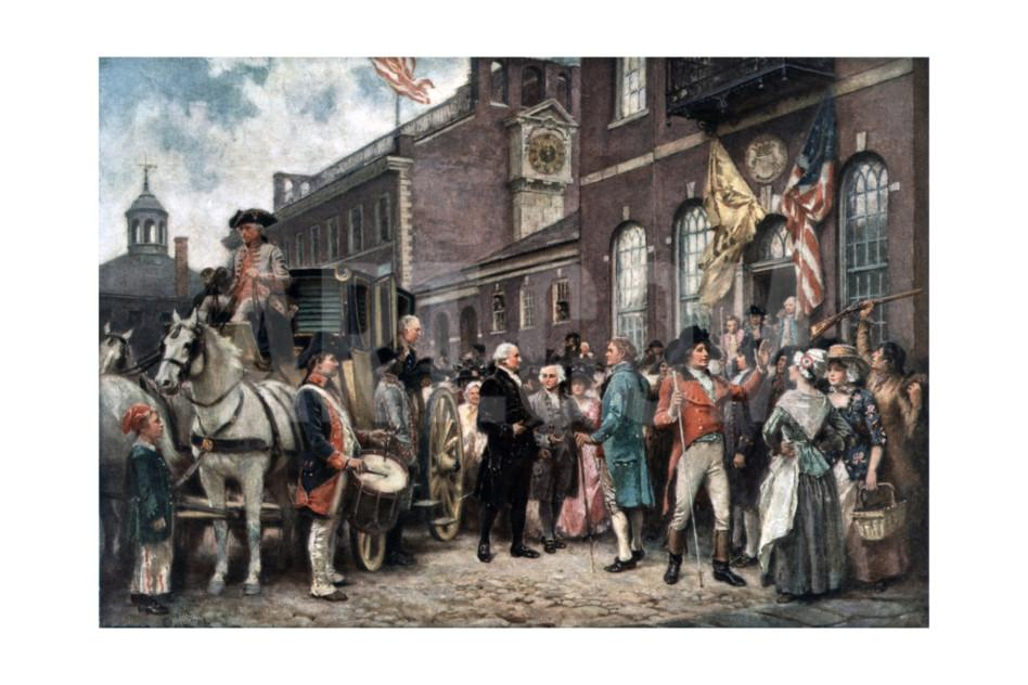 An artist's rendition of George Washington arriving for his second inauguration at Congress Hall.