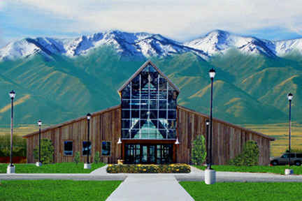 The American West Heritage Center main building, located at the base of the Wellsville Mountains