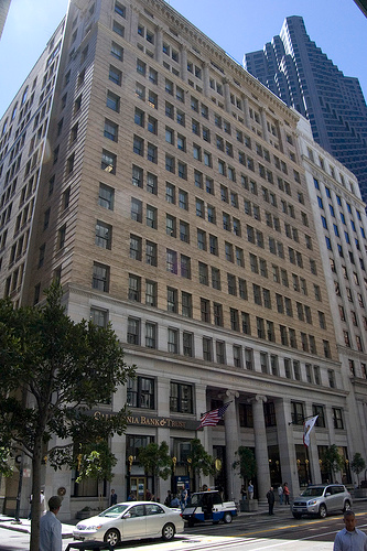 San Francisco Merchant's Exchange survived the San Francisco earthquake of 1906. It's interior was designed by renowned architect Julia Morgan.