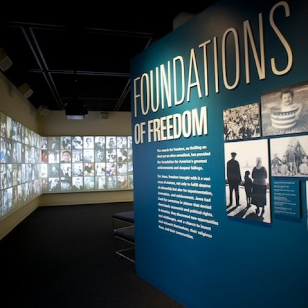 "Entrance to the ""Foundations of Freedom"" exhibition that covers the beginnings of American Jewish history from 1654 to 1880."