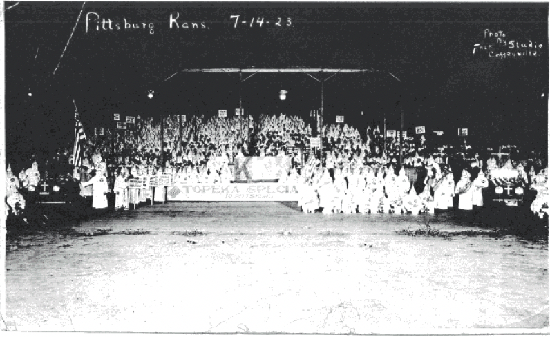 In July 1923, the local chapter of the KKK in Pittsburg hosted a rally against the Governor Allen's ban of hoods. This year was at the height of the terrorism instilled by the Klan.