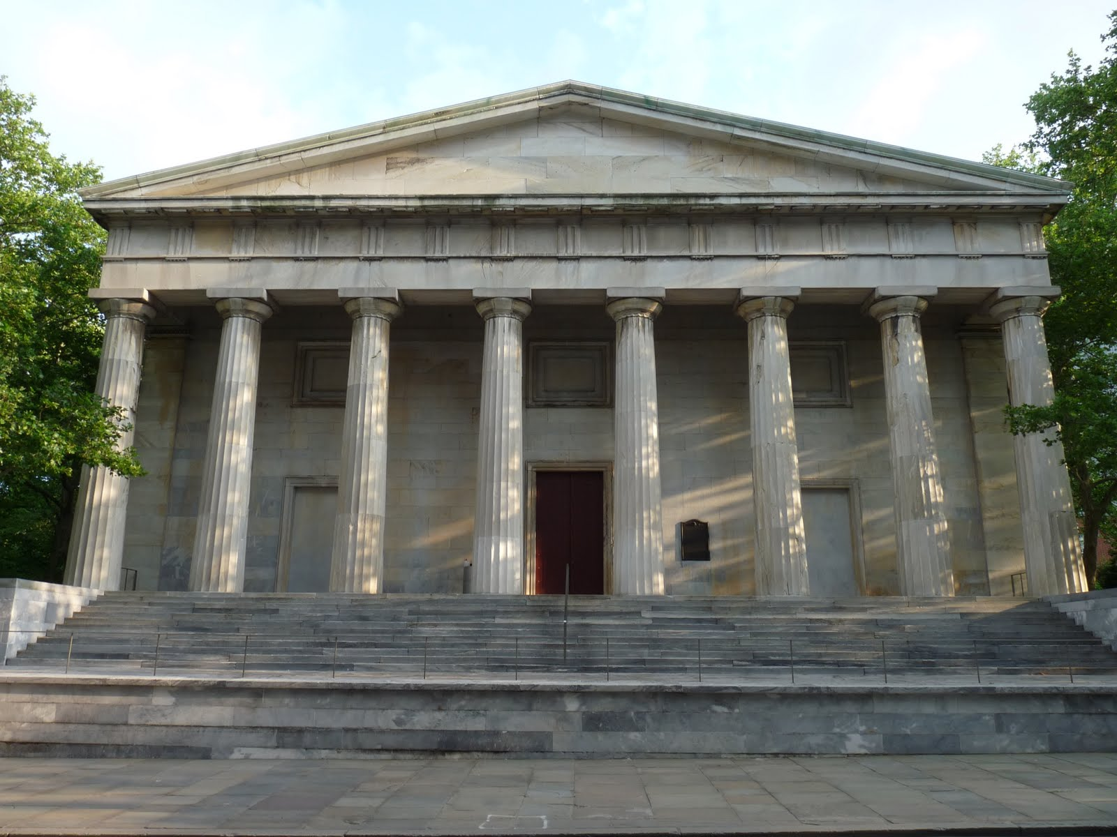 The Greek Revival Second Bank of the United States with its wide staircase and huge Doric columns.