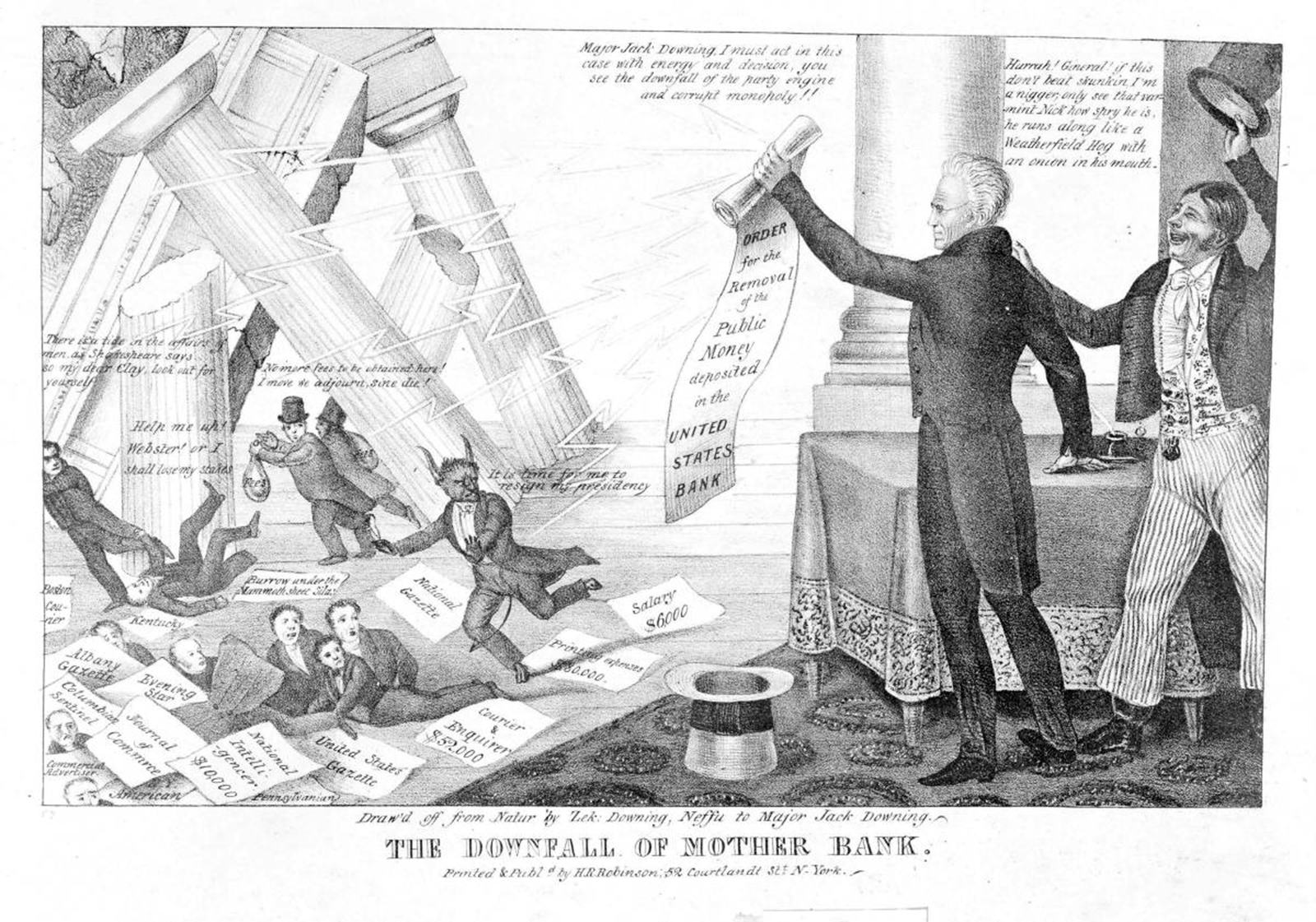 A 19th century political cartoon that references President Jackson's successful efforts to destroy the Second Bank of the United States.
